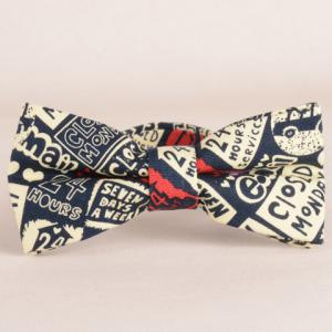 Stylish Letters and Numbers Pattern Bow Tie For Men