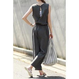 Trendy Scoop Neck Sleeveless Solid Color Drawstring Hollow Out Jumpsuit For Women -