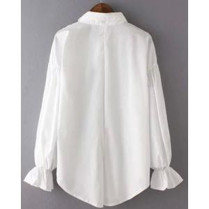 Vintage Shirt Collar Long Sleeve Single-Breasted White Blouse For Women -