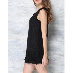 Floral Lace Fringed Mini Flapper Dress -