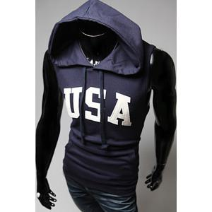 Fashion Drawstring Hooded Letters Print Front Pocket Slimming Sleeveless Hoodie For Men -