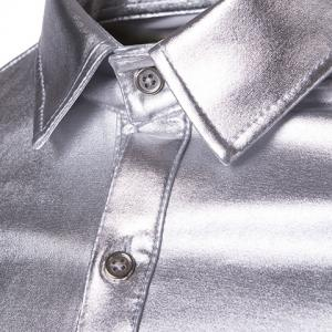 Long Sleeve Metallic Button Up Shirt -