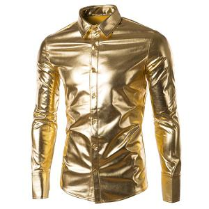 Long Sleeve Metallic Button Up Shirt - Golden - Xl