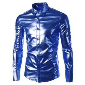 Long Sleeve Metallic Button Up Shirt - Sapphire Blue - M