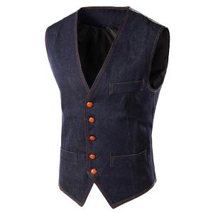 Slim Fit Denim Casual Vest - Blue - L