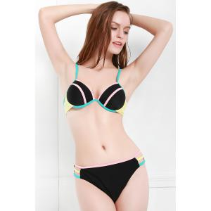 Sexy Spaghetti Strap Hit Color Cut Out Bikini Set For Women