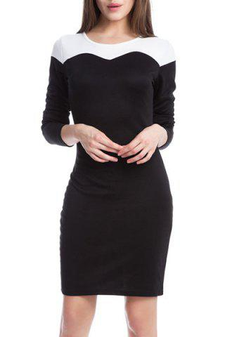 Scoop Neck Long Sleeve Color Spliced Pencil Dress For Women 169868602