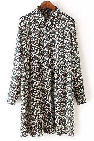 Refreshing Shirt Collar Long Sleeve Tiny Floral Print Shirt Dress Women