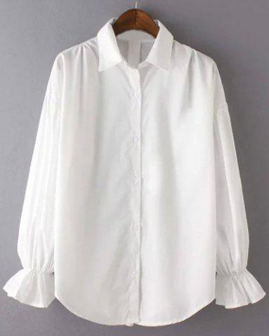 Affordable Vintage Shirt Collar Long Sleeve Single-Breasted White Blouse For Women
