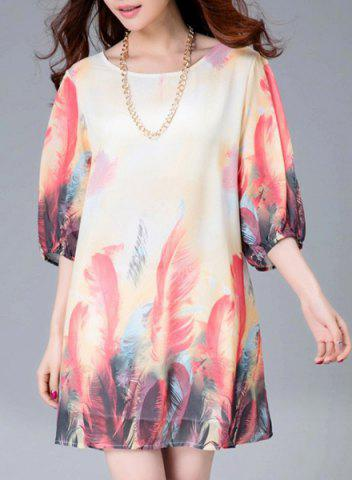 Latest Stylish Scoop Neck Feather Print 3/4 Sleeve Dress For Women