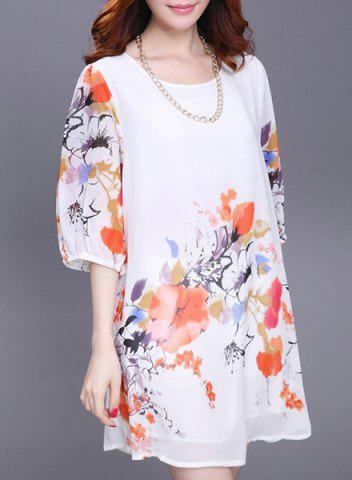 Latest Refreshing Scoop Neck Flower Print 3/4 Sleeve Dress For Women