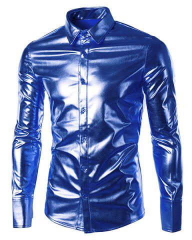 Long Sleeve Metallic Button Up Shirt - Sapphire Blue - 2xl