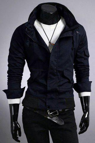 Hot Casual Slim Fit Pokets Zip Up Solid Color Jacket For Men
