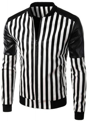 Fashion Casual Zipper Stand Collar Stripe PU Leather Jacket For Men