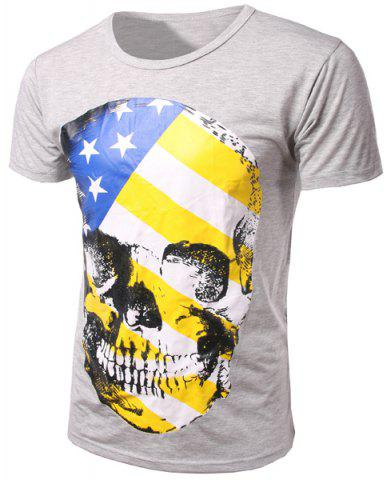 Trendy Slim Fit Pullover Round Collar Skull Printed T-Shirt For Men
