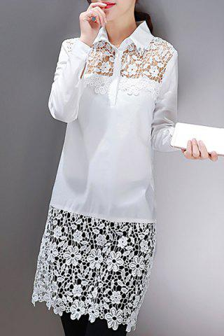 Chic Floral Lace Insert Long Blouse