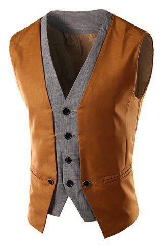 Slimming Single Breasted V-Neck Color Block Waistcoat For Men - CAMEL M