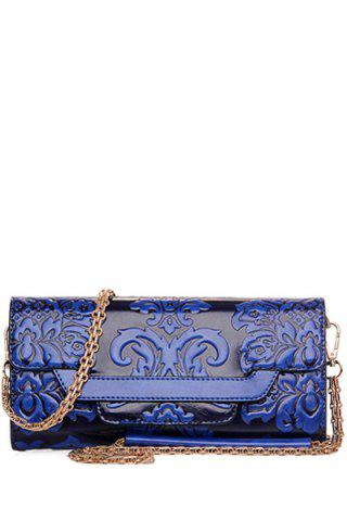 New Ethnic Style Chains and Embossing Design Crossbody Bag For Women - BLUE  Mobile