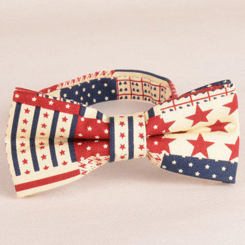 Affordable Stylish Stripes and Five-Pointed Stars Pattern Bow Tie For Men