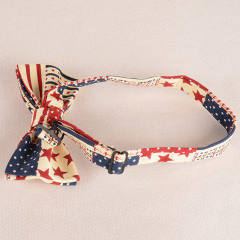 New Stylish Stripes and Five-Pointed Stars Pattern Bow Tie For Men - BEIGE  Mobile
