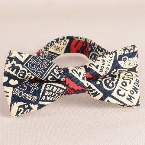 Store Stylish Letters and Numbers Pattern Bow Tie For Men - BEIGE  Mobile