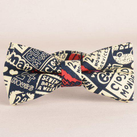 Stylish Letters and Numbers Pattern Bow Tie For Men - Beige