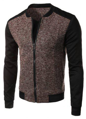Unique Casual Simple Style Stand Collar Zipper Splicing Jacket For Men
