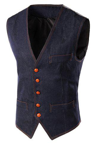 Outfits Slim Fit Denim Casual Vest BLUE L