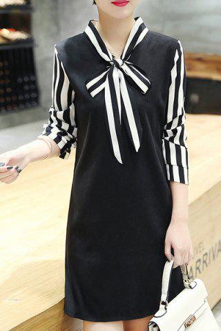 Sale Trendy Long Sleeve Stripe Spliced Women's Dress