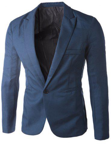 Shops Casual Tailored Collar Single Button Solid Color Blazer For Men SAPPHIRE BLUE 3XL