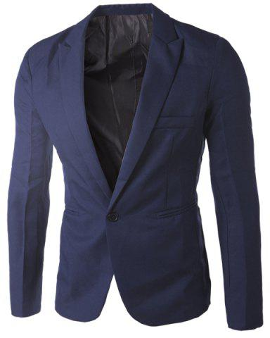 New Casual Tailored Collar Single Button Solid Color Blazer For Men - CADETBLUE M Mobile