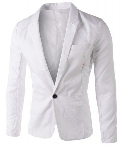 Trendy Casual Tailored Collar Single Button Solid Color Blazer For Men WHITE 3XL