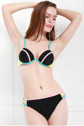 Sexy Spaghetti Strap Hit Color Cut Out Bikini Set For Women -