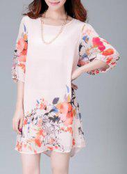 Graceful Scoop Neck Flower Print 3/4 Sleeve Dress For Women -
