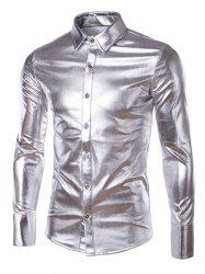 Long Sleeve Metallic Button Up Shirt