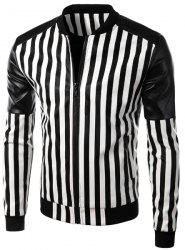 Casual Zipper Stand Collar Stripe PU Leather Jacket For Men -