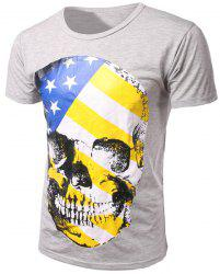 Slim Fit Pullover Round Collar Skull Printed T-Shirt For Men -