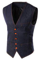 Slim Fit V-Neck unique poitrine Denim Gilet For Men - Bleu