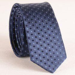 Stylish Small Lattice and Polka Dot Jacquard 5.5CM Width Tie For Men - CADETBLUE