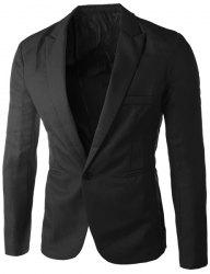Casual Tailored Collar Single Button Solid Color Blazer For Men - BLACK