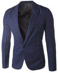 Casual Tailored Collar Single Button Solid Color Blazer For Men - CADETBLUE