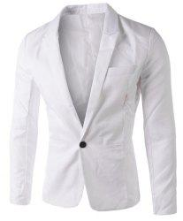 Casual Tailored Collar Single Button Solid Color Blazer For Men - WHITE
