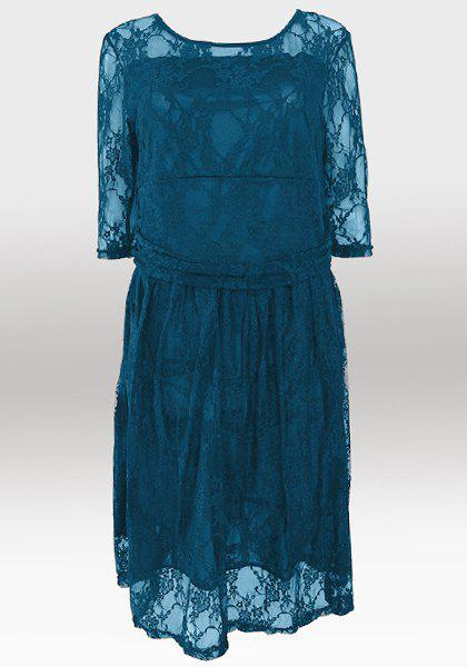 Buy Elegant Jewel Neck Half Sleeve Solid Color Pleated Lace Dress For Women