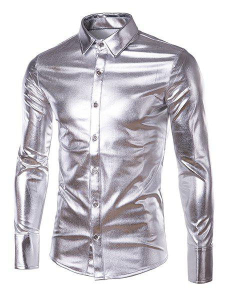 Best Long Sleeve Metallic Button Up Shirt