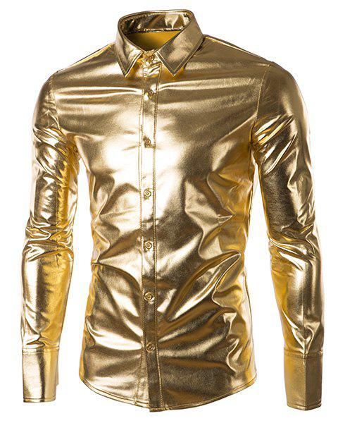Long Sleeve Metallic Button Up ShirtMEN<br><br>Size: M; Color: GOLDEN; Shirts Type: Casual Shirts; Material: Cotton Blends; Sleeve Length: Full; Collar: Turn-down Collar; Weight: 0.316KG; Package Contents: 1 x Shirt;