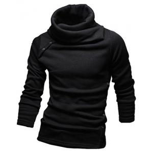 Vogue Heaps Collar Button Embellished Solid Color Long Sleeves Sweater For Men -