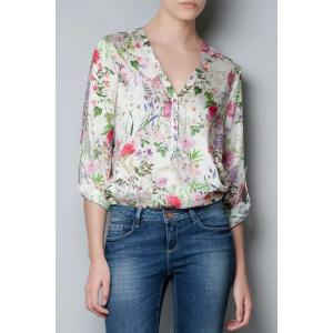 Sweet V-Neck Rolled Sleeve Floral Print Women's Shirt - White - M