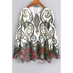 Sweet Round Neck Long Sleeve Green Floral Women's Jumper