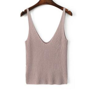Stylish Straps Solid Color Crop Tank Top For Women - Pink - S