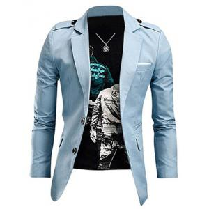 Laconic Lapel Stereo Patch Pocket Epaulet Design Long Sleeves Jacket For Men